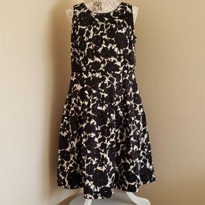 Talbots Black and White Sleeveless Floral Dress